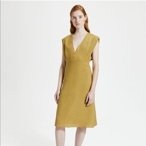 Theory Pure Linen Deep V Easy Dress